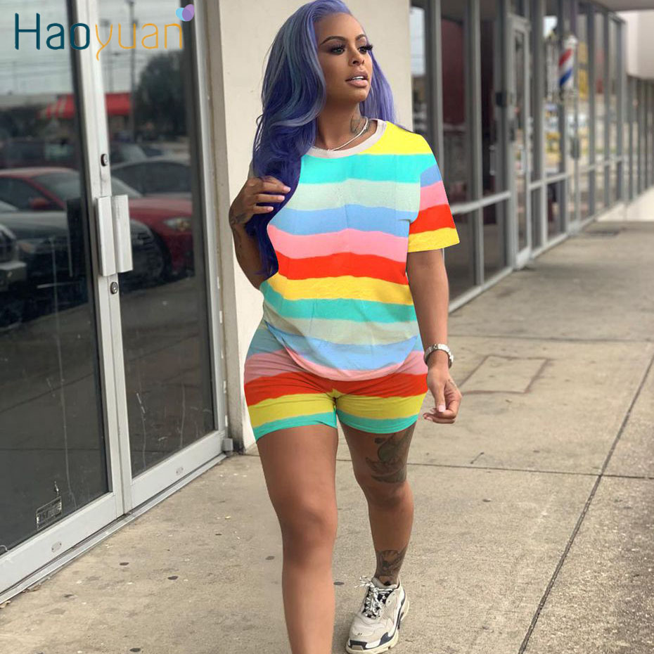 HAOYUAN Rainbow Striped Plus Size Two Piece Set Tracksuit Women Sexy Top+Biker Shorts Sweat Suits 2 Piece Outfits Matching Sets