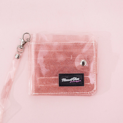 Bling Transparent ID Card Wallet PVC Folding Lanyard Glitter Business Card,Pur S