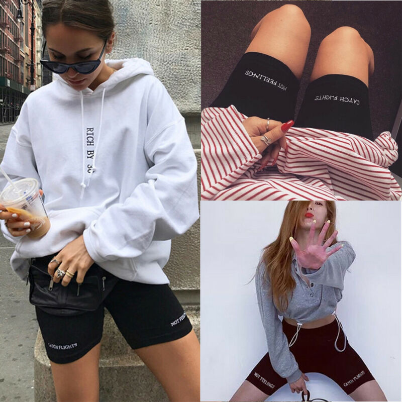 Women Stretch Biker Bike Shorts Letter Print Workout Spandex Knee Length Short