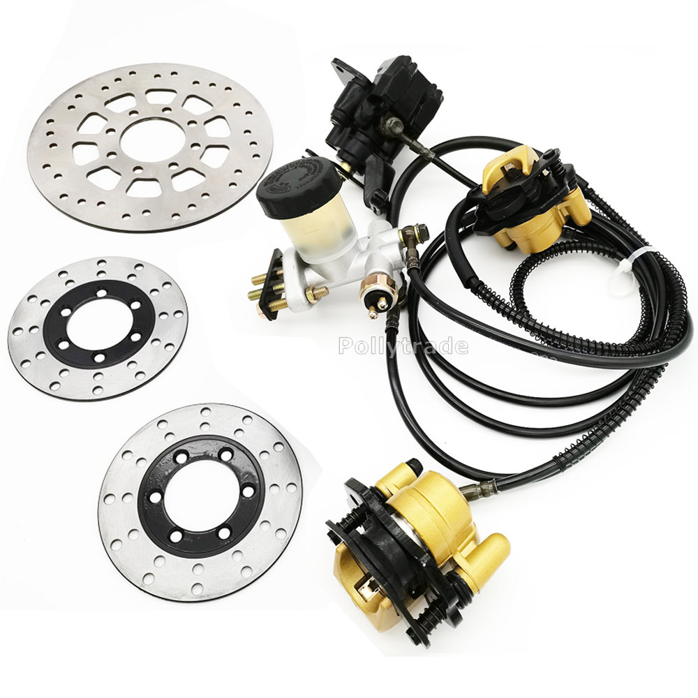 Go kart part Hydraulic Front Rear Brake Calipers Pad Assembly System & brake disc for 150cc 250cc ATV Quad Dirt Bike Dune Buggy