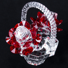 H&D Crystal Red Rose Flower Basket Figurine Art Glass Collectible Craft Gift Dreams Ornament for Home Decor Table Centerpiece