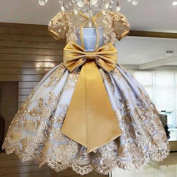 Elegancka sukienka dla dziewczynki urodziny nowy rok dzieci party wesele wieczorowy strój księżniczka przyjęcie tanie i dobre opinie NNJXD Poliester Wiskoza CN (pochodzenie) Kolan O-neck Dziewczyny REGULAR Krótki Śliczne Pasuje prawda na wymiar weź swój normalny rozmiar