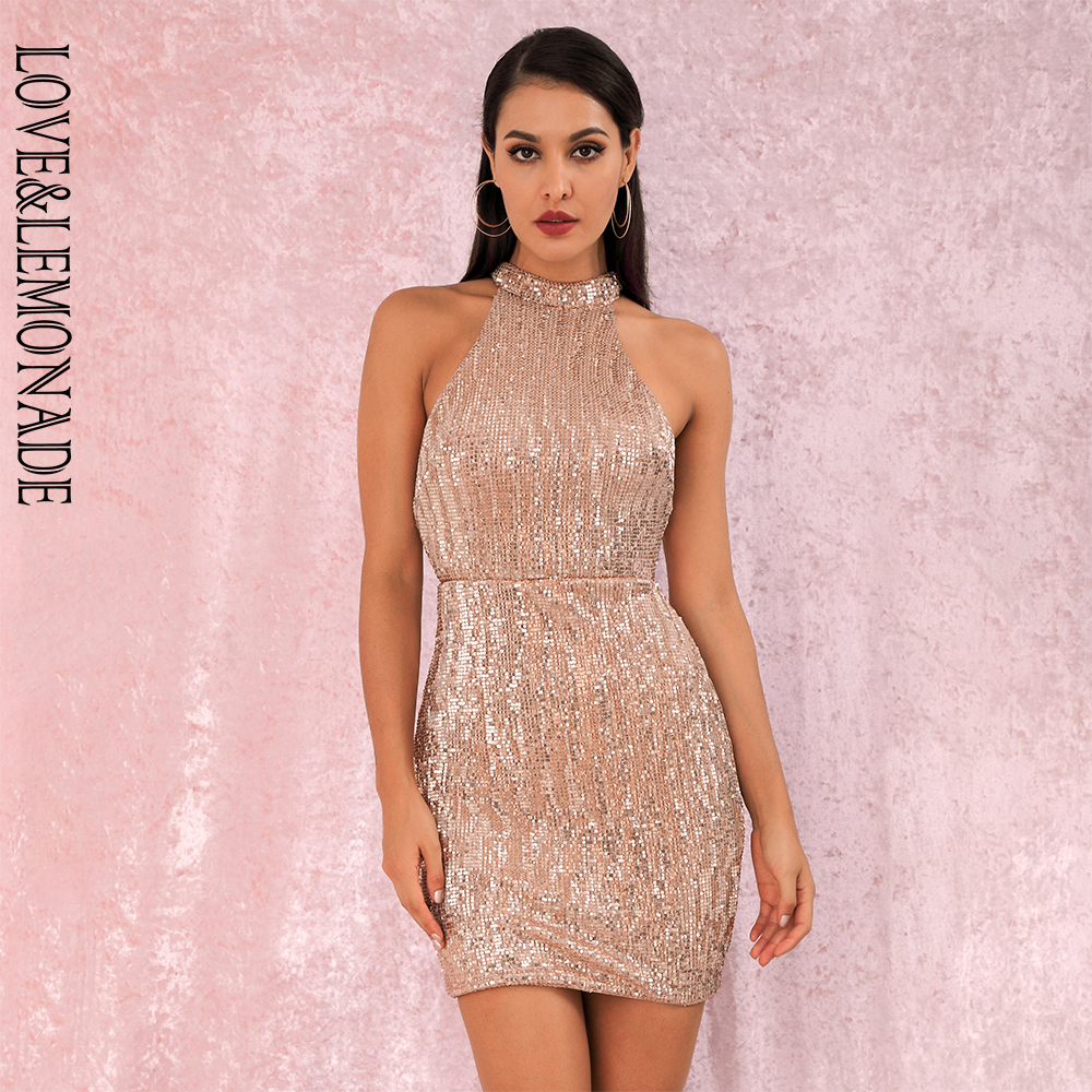 LOVE&LEMONADE Rose Gold Sexy Open Back Halter Dry Shoulder Slim Elastic Sequin Mini Party Dress LM80492MINI Autumn/Winter