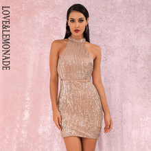 LOVE&LEMONADE Gold Sexy Open Back Halter Trockenen Schulter Dünne Elastische Pailletten Mini Party Kleid LM80492MINI(China)
