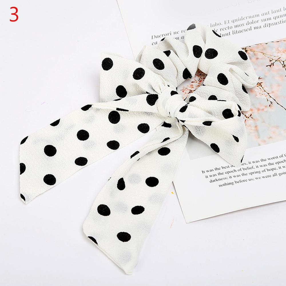 Femmes banderoles chouchous à pois imprimé Floral élastique noeud cheveux corde fille cheveux cravates coréen doux cheveux accessoires chapeaux 52