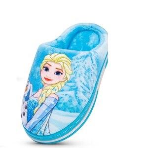 Image 1 - Nuevo Anna Elsa zapatos niñas zapatillas casa dibujos animados invierno Zapatos Niños Snow Queen 3d zapatillas de felpa alta calidad invierno cálido zapatos