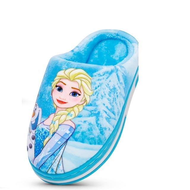 Nuevo Anna Elsa zapatos niñas zapatillas casa dibujos animados invierno Zapatos Niños Snow Queen 3d zapatillas de felpa alta calidad invierno cálido zapatos