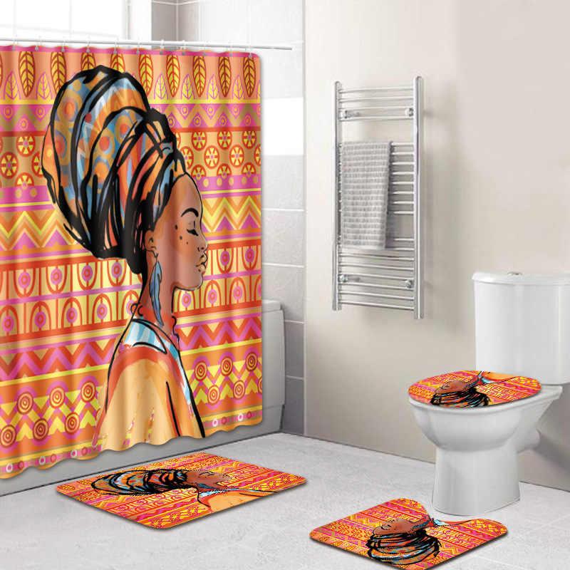 180//200cm Crown African Women Waterproof Bathroom Shower Curtain Or Toilet Mat