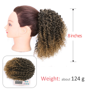 Image 4 - AISIBEAUTY Drawstring Puff Ponytail Afro Kinky Curly Hair Extension Synthetic Clip in Pony Tail  African American Hair Extension
