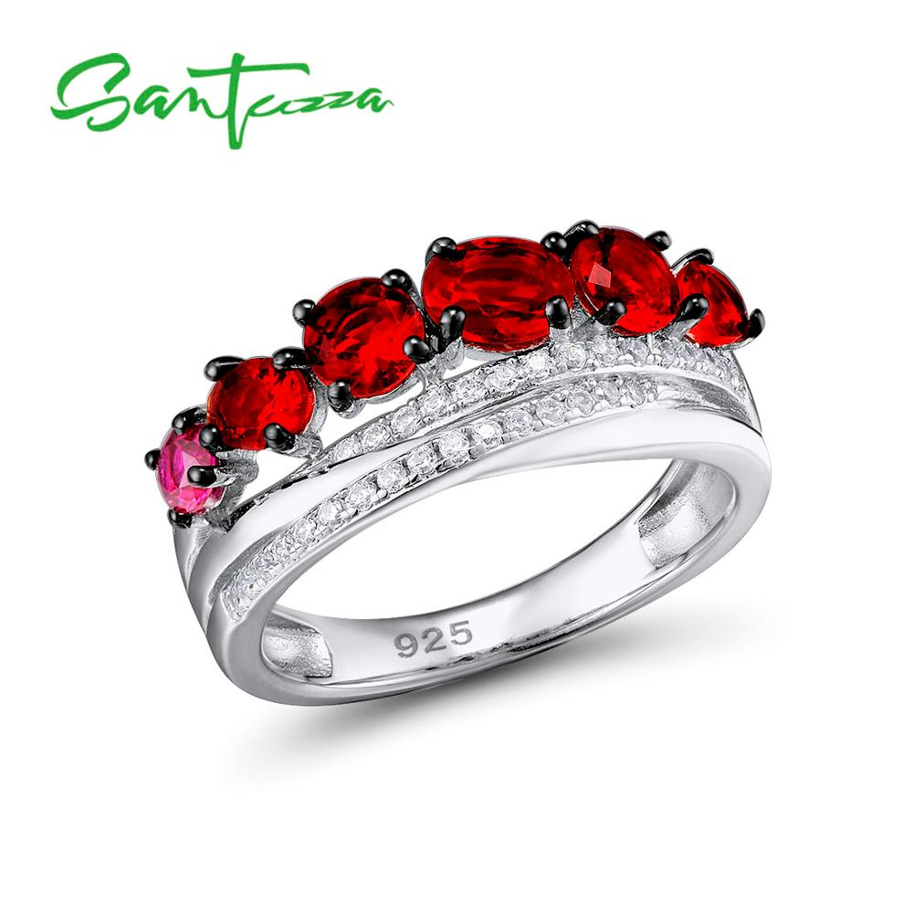 SANTUZZA Silver Rings For Women Pure 925 Sterling Silver Glamorous Red Round Glass Ring Trendy Wedding Accessories Fine Jewelry