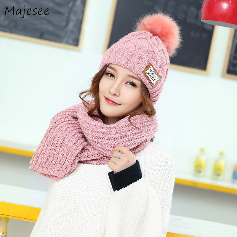 Scarf And Hat Set Women Winter Warm Solid Simple Thicker High Quality Knitted Korean Style All-match Chic Daily Fashion Womens