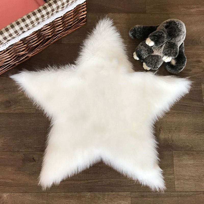Long Hairy Rug White Five Pointed Star Fur Area Rug Artificial Wool Sheepskin Baby Room Bedroom Soft Shaggy Carpet Free shipping|Rug| |  - title=