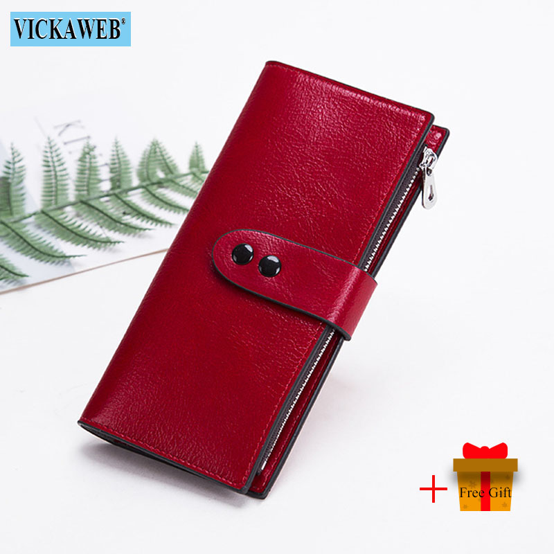 VICKAWEB Long Wallet Women Ladies Solid Purse Female Fashion Zipper Big Womens Wallets And Purses Big Pink Woman Red Money Bag