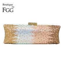 Boutique De FGG Elegant Women Long Evening Bags and Clutches Formal Dinner Crystal Clutch Purses Bridal Rhinestones Handbags