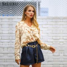 Seluxu 2019 Autumn Women T-Shirt Women V Neck Sexy Chain Print Shirt Full Sleeves Loose Tunic Tops Irregular Hem Shirt Women Top blue v neck irregular hem top