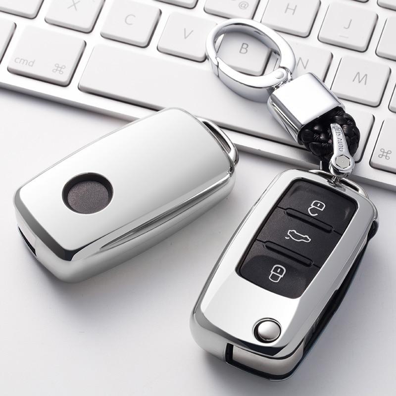 For VW Volkwagen Polo Bora Tiguan Passat Golf 6 Lavida Scirocco Soft TPU Protection Car Key Case Shell Cover Auto Accessories