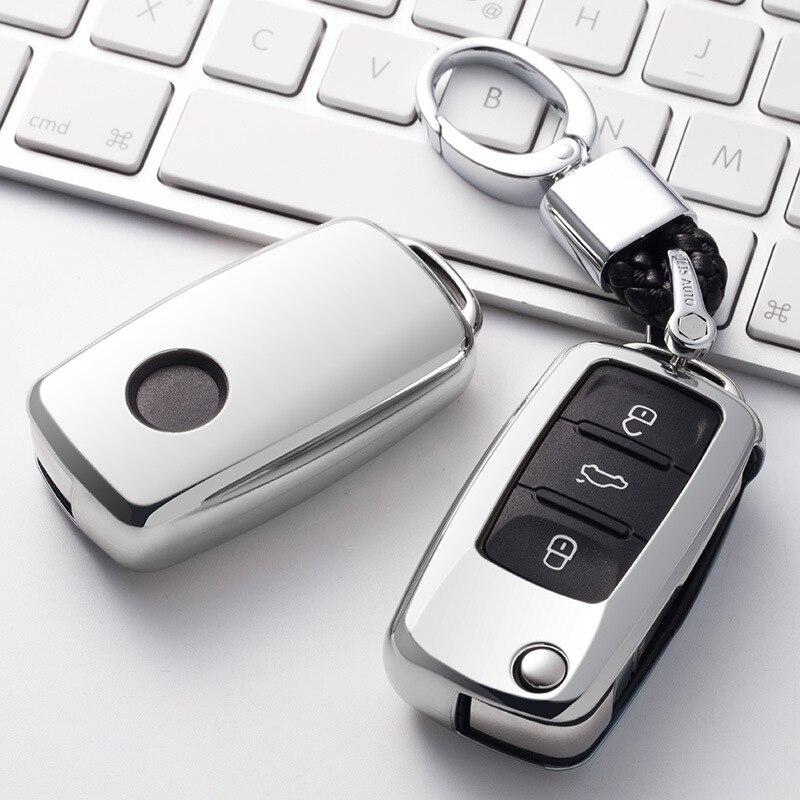 Pour VW qingwagen Polo Bora Tiguan Passat Golf 6 Lavida Scirocco souple Protection en ptu étui de clé de voiture coque de Protection accessoires Auto