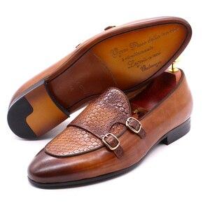 Image 3 - פליקס CHU סתיו Mens עור ופרס אדון מסיבת חתונה מזדמן להחליק על נעליים רשמיות שחור חום נזיר רצועת גברים שמלה נעליים