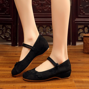 Image 2 - Veowalk Chinese Knot Women Cotton Fabric Embroidered Ballet Flats Retro Ladies Casual Traditional Old Beijing Shoes Solid Color