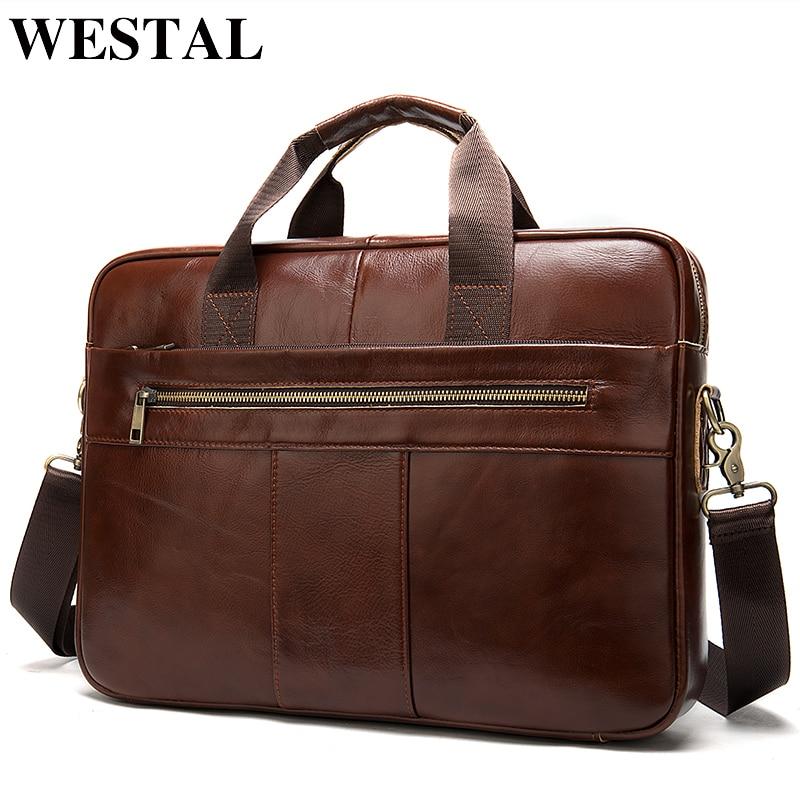WESTAL Men's Briefcase Bag Men's Genuine Leather Laptop Bag Business Tote For Document Office Portable Laptop Shoulder Bag  8523