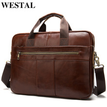 WESTAL mens briefcase bag mens genuine leather laptop bag business tote for document office portable laptop shoulder bag  8523