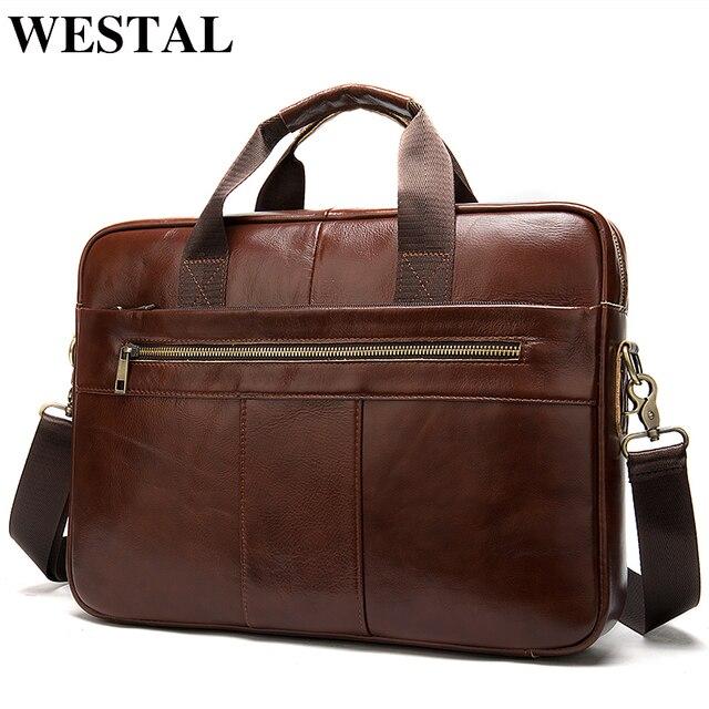 WESTAL mens briefcase bag mens genuine leather laptop bag business tote for document office portable laptop shoulder bag  8523