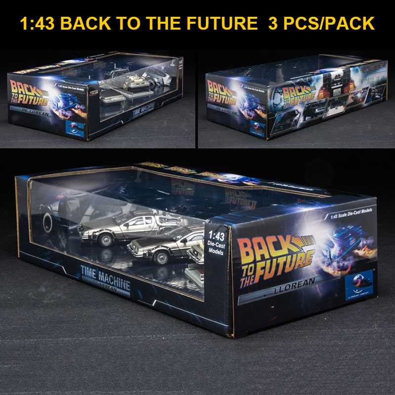 3 Pcs 1/43 Scale Metal Alloy Car Diecast Model Time Machine DeLorean DMC-12 Model Toy Back To The Future Collecection