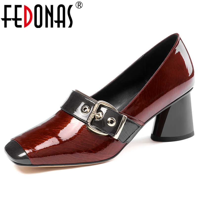 FEDONAS 2020 Spring Summer Quality Cow Patent Leather Female High Heels Dancing Party Shoes Woman Classic Buckle Women Pumps