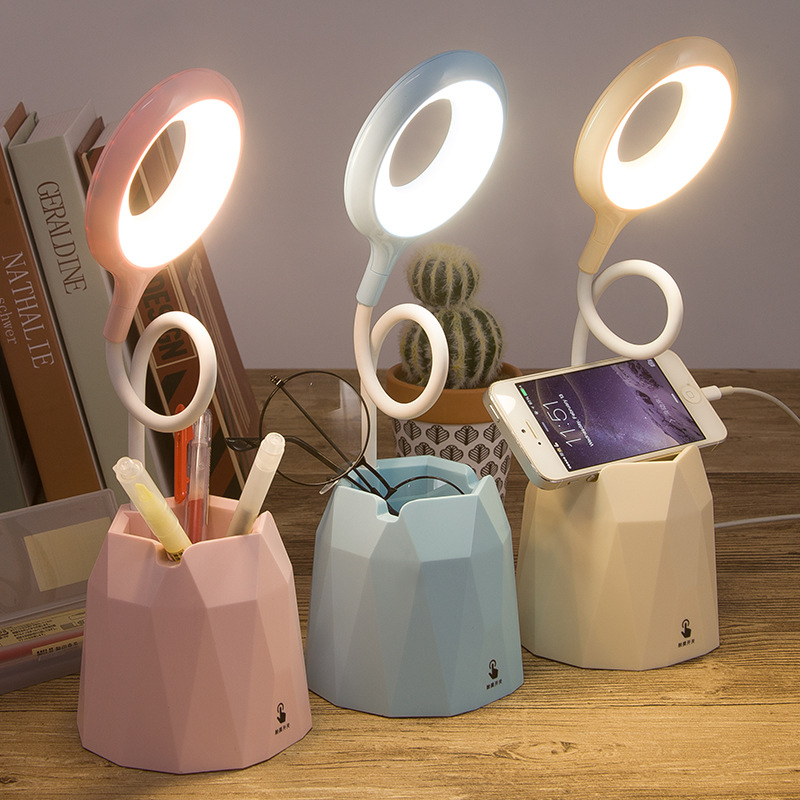 Creative USB Table Light Morden College Dorm Bedroom Study Led Desk Lamp Pen Container Macaroon Eye Protection Ring Table Lamp