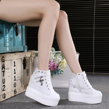 2019 Autumn Women Casual Shoes Denim Ankle Boots Ladies Classic Zipper Height Increasing student Boots Zapatos
