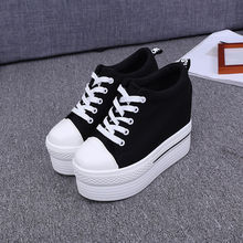 Canvas for Women Shoes Wedge Platform Black White Sneakers Heels 10CM