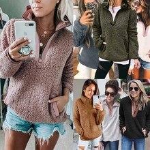 Hoodies Female Coats Sweatshirt Pullover Turtleneck Long-Sleeve Fleece Winter Women Warm-Zip-Pocket
