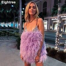 Eightree фиолетовые Перья короткие платья для выпускного вечера