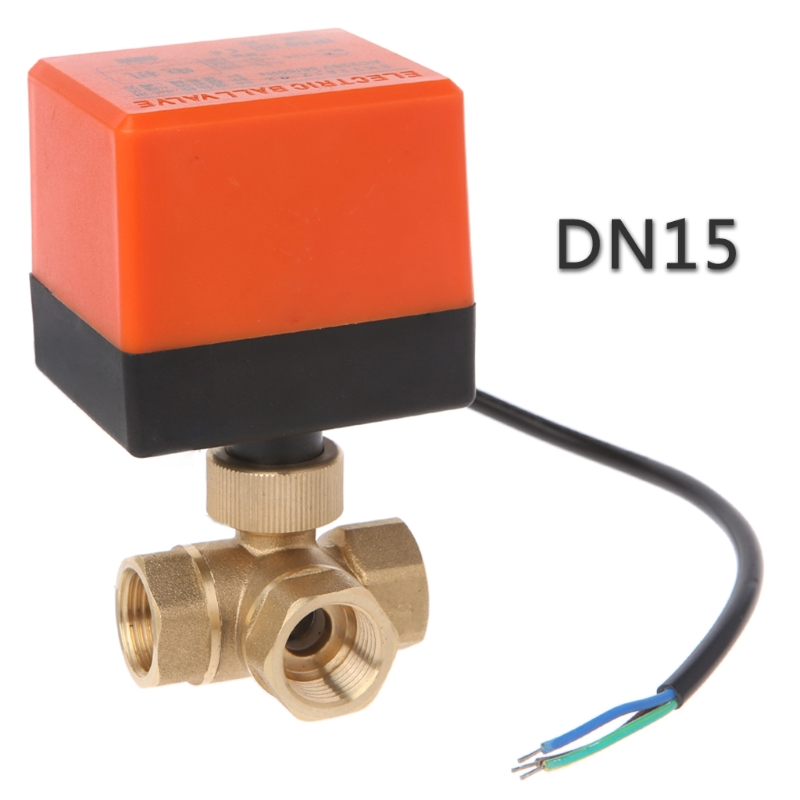 3 Way Motorized Ball Valve Electric Three Line Two Way Control AC 220 DN15/20/25