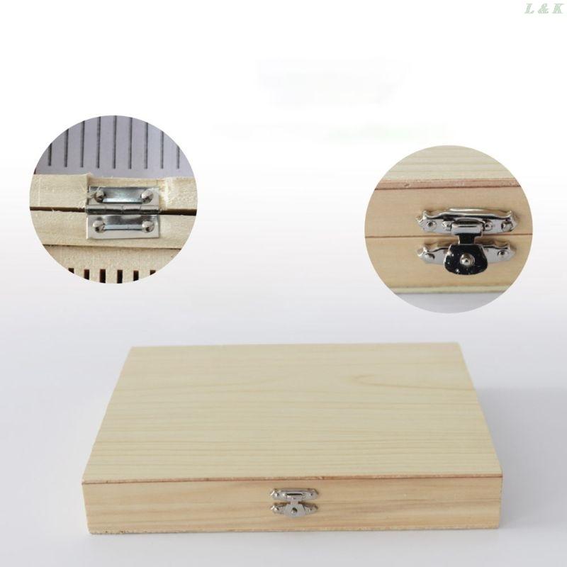 100-Places Digital Microscope Slides Storage Box Biological Wooden Piece Case U50A