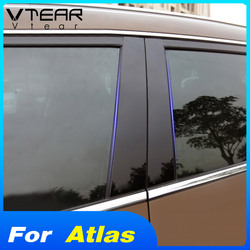 Vtear for Geely atlas car window BC pillar sticker trim cover film PVC accessories exterior car-styling decoration 2018 2019