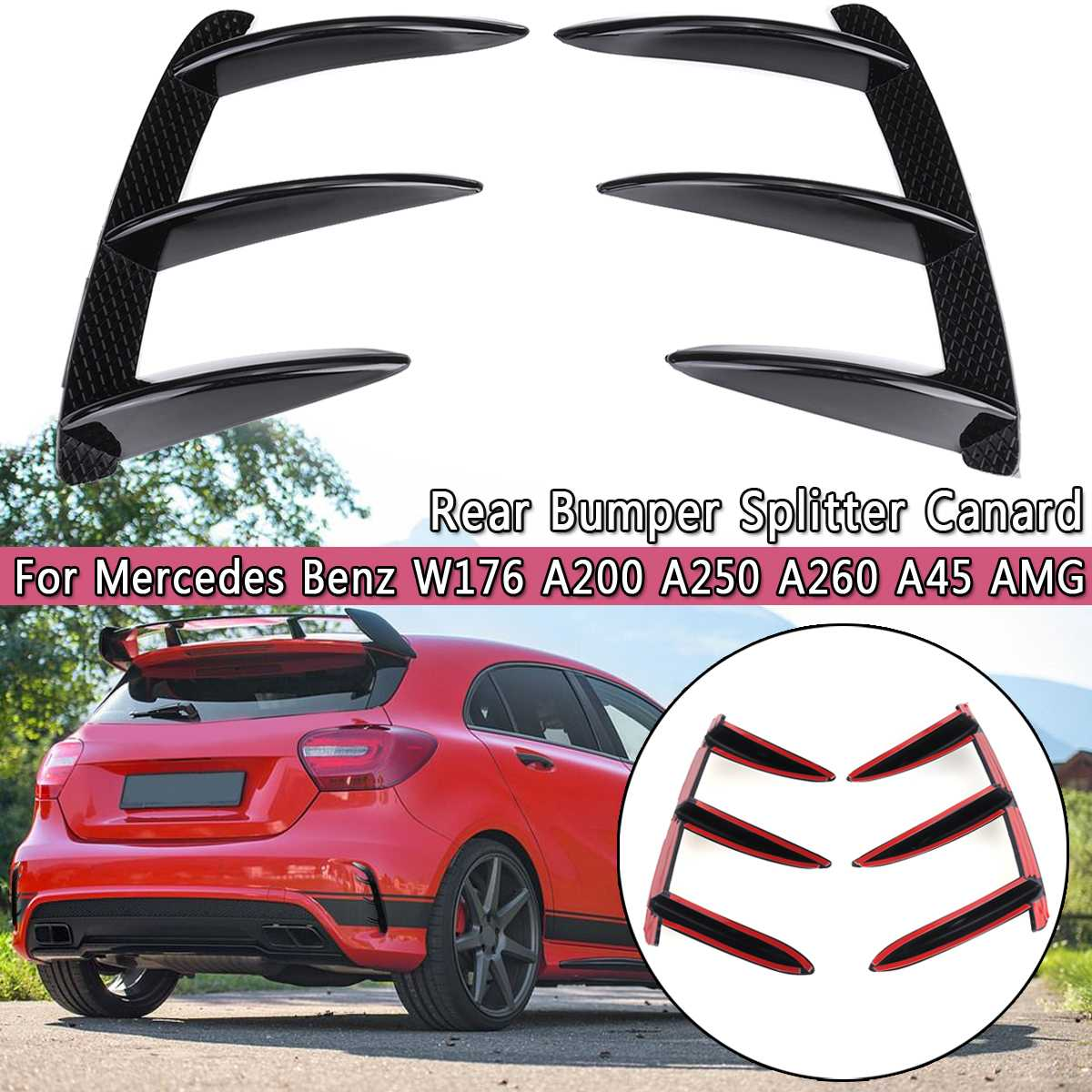 1Pair Car Black ABS Rear Bumper Splitter Spoilers Canard For Mercedes For Benz W176 A200 A250 A260 A45 For AMG