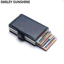 En kaliteli Rfid cüzdan erkekler para çanta Mini çanta erkek alüminyum kart cüzdan küçük debriyaj deri cüzdan ince çanta carteras 2020