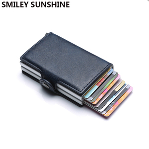 Image 1 - Top Quality Rfid Wallet Men Money Bag Mini Purse Male Aluminium Card Wallet Small Clutch Leather Wallet Thin Purse carteras 2020