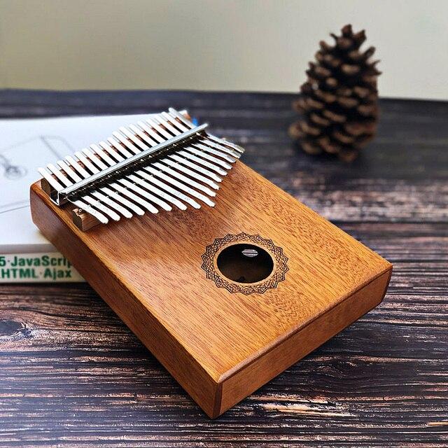 Scoutdoor 17 Keys Kalimba Thumb Piano Made By Single Board High Quality Wood Mahogany Body Musical Instrument