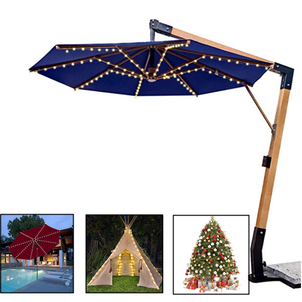 Solar Panel Umbrella 104 LED String Light Christmas Light Outdoor Waterproof IP67 Decorate Terrace House Tent Patry Garden Light