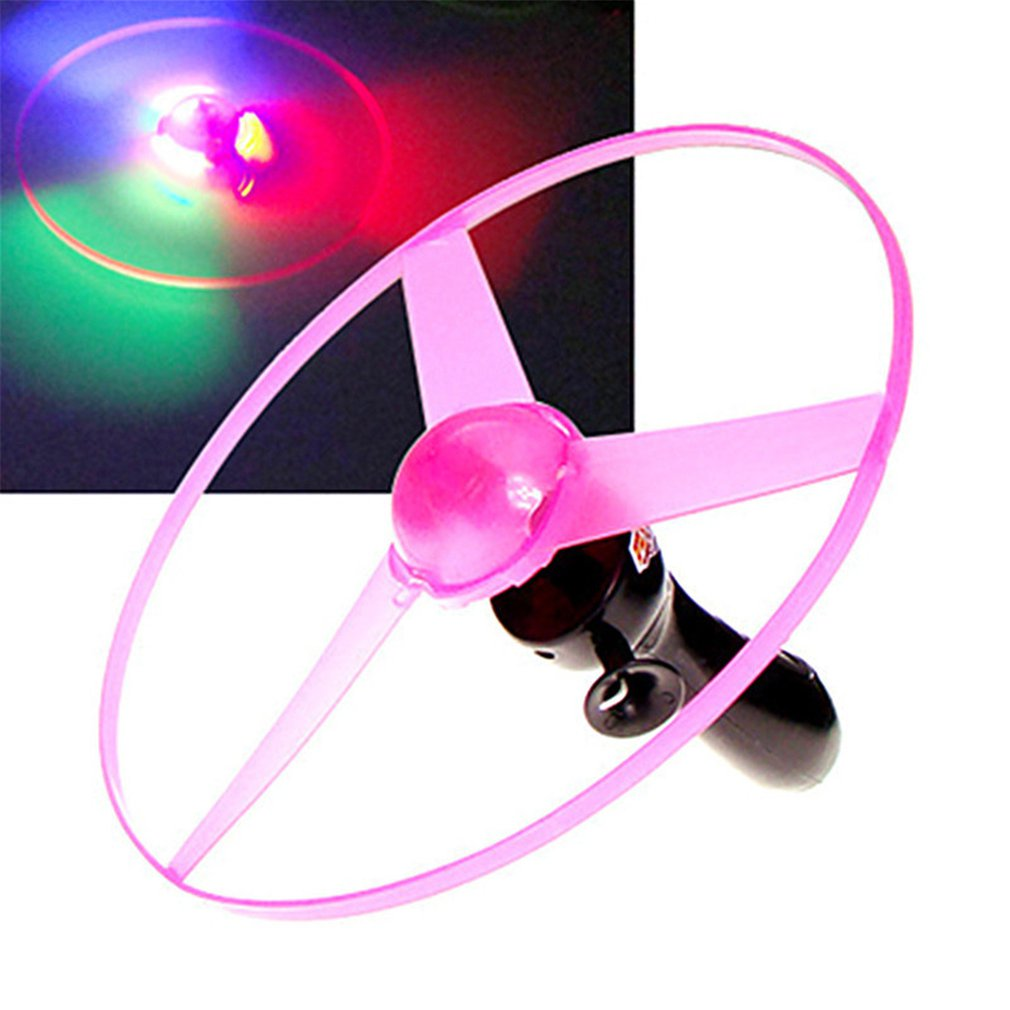 Funny Colorful Pull String UFO LED Light Up Flying Saucer Disc Kids Toy Pull Wire UFO Light Flying Saucer