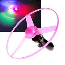 Забавный красочный тянуть шнур НЛО светодиод свет вверх полет блюдце диск дети игрушка тянуть проволока НЛО свет полет блюдце