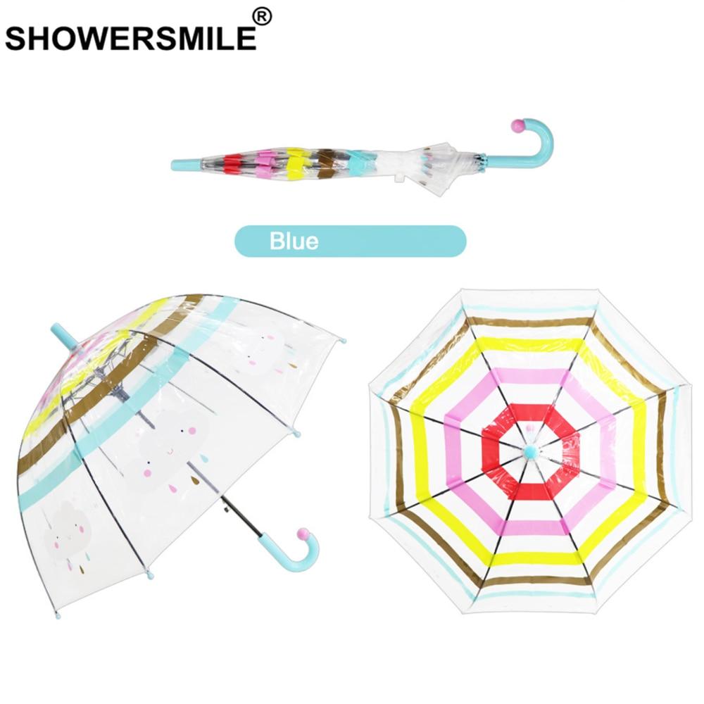 Showersmile crianças guarda-chuva transparente crianças longo lidar com guarda-chuvas criança chuva nuvem dos desenhos animados arco-íris meninos meninas bonito guarda-chuva