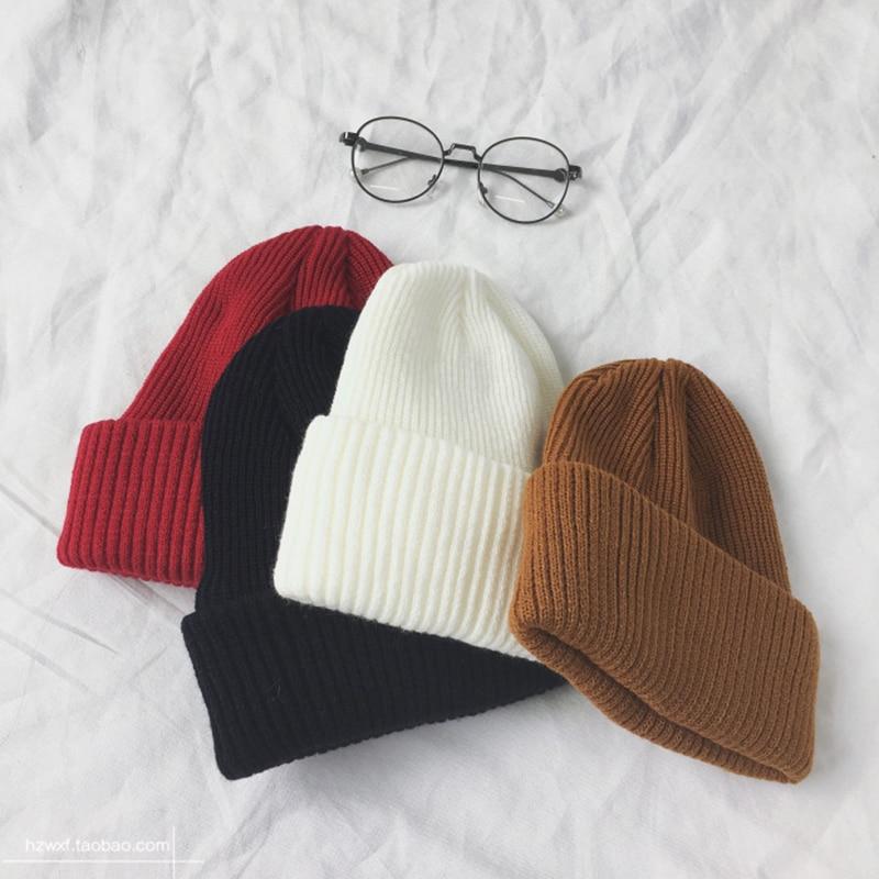 2019 Unisex Couple Solid Color Wool Blend Knitted Beanie Hat Autumn Winter Warmer Ear Soft Ski Cap Korean Warm Hats Bonnet Femme