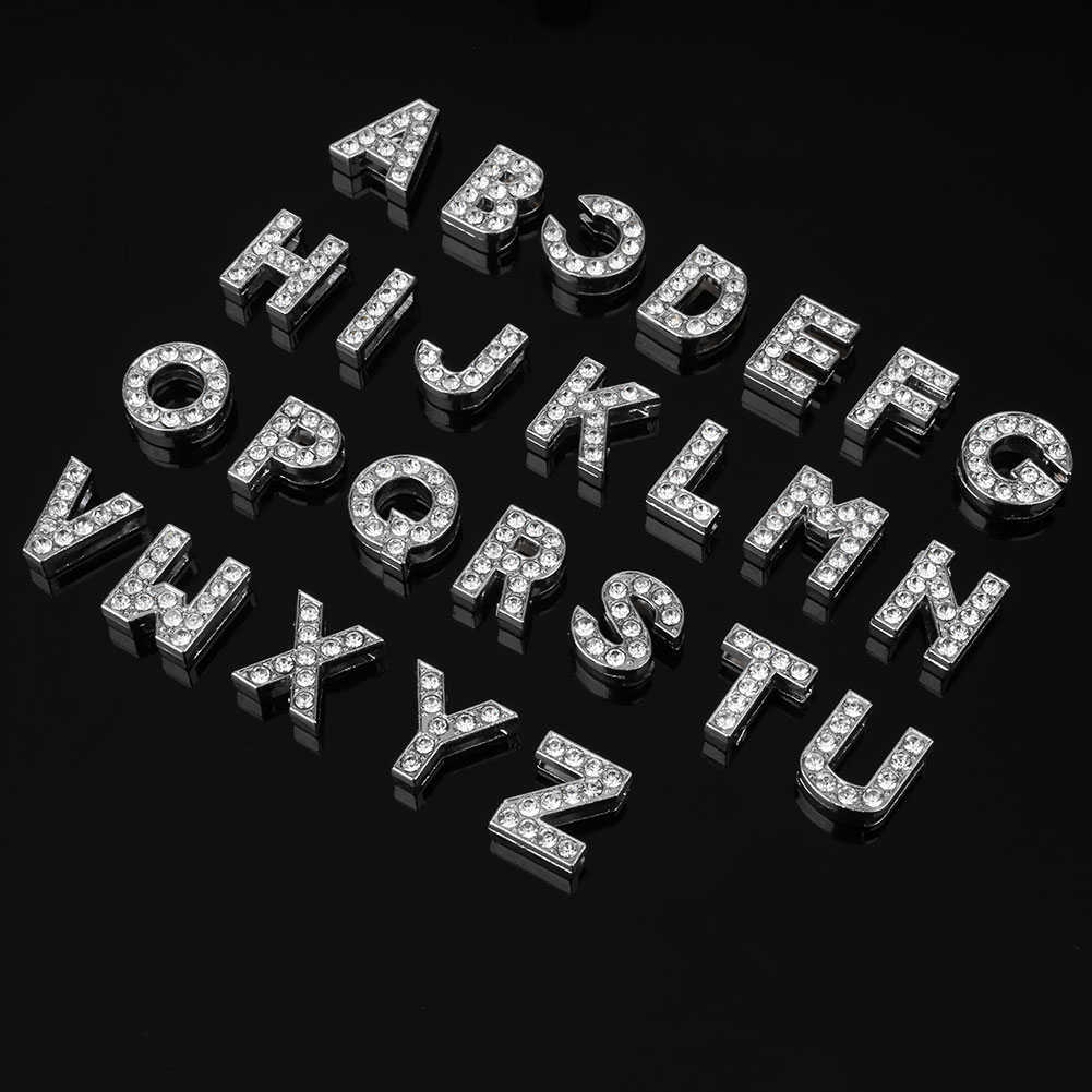 Home Bar Party Decoration Party Props Silver Crystal Rhinestone Diamond DIY A-Z Letter Set Alphabet 26pcs