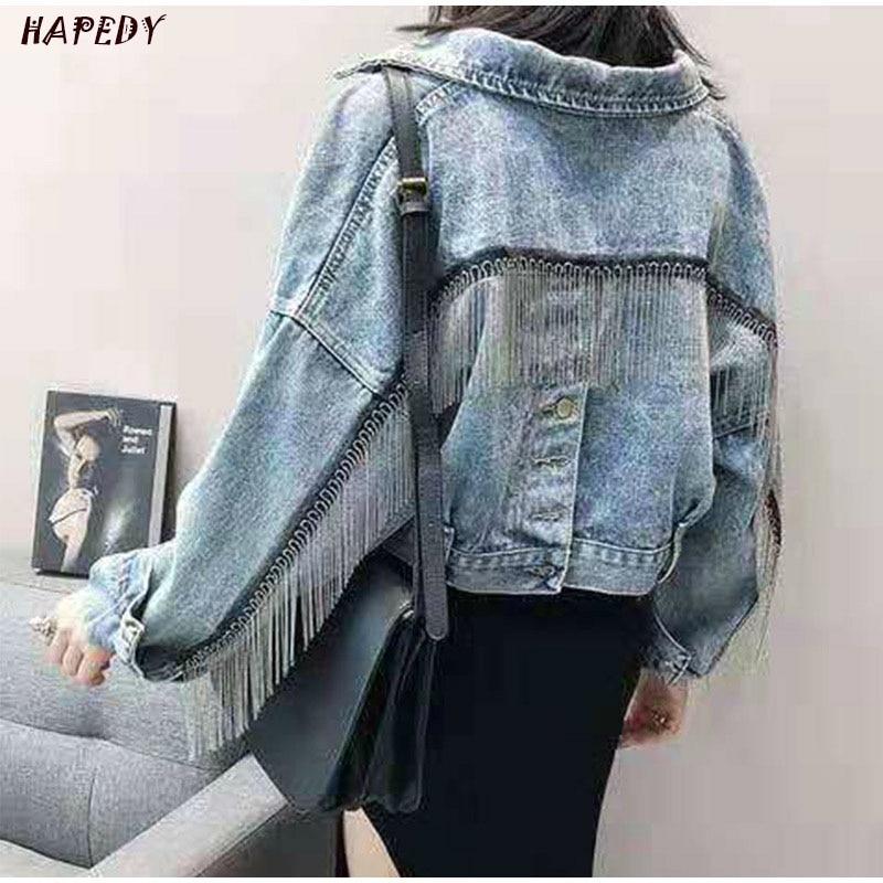 Fashion Spring Autumn Women Vintage Denim Tassels Jacket Coat Batwing Sleeve Short Jeans Loose Casual Streetwear Female CA6854