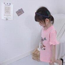 2020 Summer Girls New Cotton Flouncing Lotus Sleeve Print Cartoon Loose Straight Long T-shirt Baby Dress Kids Children 100-140