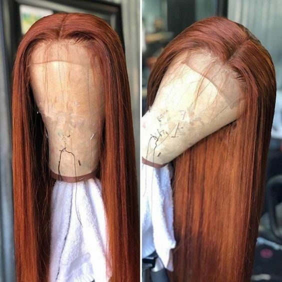 Brown Auburn Straight Lace Front Human Hair Wigs Brazilian Remy Pre Plucked Lace Front Wig For Black Women 13x4 Lace Wig SOKU