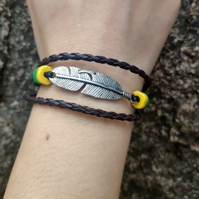 50pc Unique tissé à la main bracelet plume en bois perle en cuir tressé corde bracelet Wrap multicouche bracelets et bracelets pour les femmes